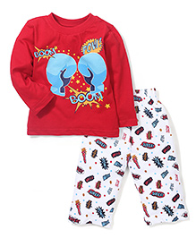Babyhug Full Sleeves Night Suit Boxing Print - Red White
