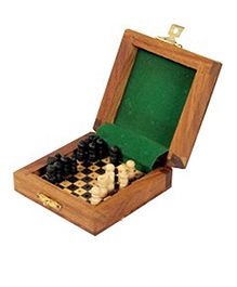 AVM 3 inch Travelling Chess Wooden Chess Board - Black And Yellow