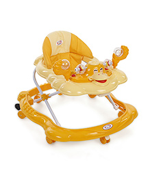 Musical Baby Walker With Play Tray - Dark Yellow