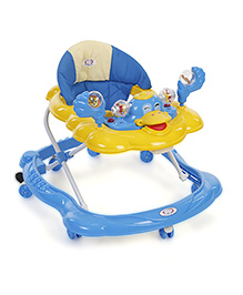 Musical Baby Walker With Play Tray - Blue Yellow