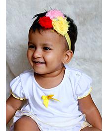 D'chica Pretty Ruffled Top - White & Yellow