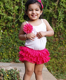 D'chica Frilly Skirt With Attached Bloomer - Fuchsia Pink