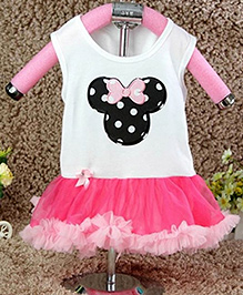 D'chica Mouse Design Dress - Pink & White