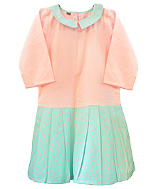 D'chica Chic Full Sleeves Dress - Blue & Peach