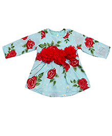 D'chica Roses And Leaves Full Sleeves Party Dress - Blue & Red