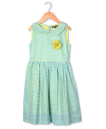 Sequences Embroidered Dress With Flower Detail - Light Green