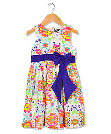 Sequences Appealing Neon Printed Dress With Bow Detail - Multicolour
