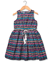 Sequences Cute Printed Dress Along With Tassel Belt - Multicolour