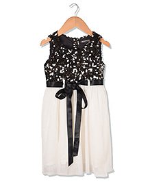 Sequences Sequin Party Kids Dress With Ribbon Belt - Black & Off White