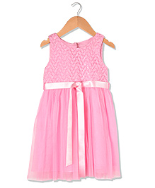 Sequences Party Dress With Satin Belt - Pink