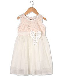 Sequences Party Kids Dress With Bow At Front - Off White
