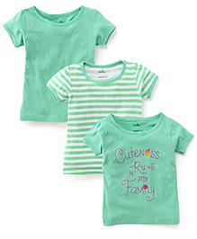 Babyhug Half Sleeves T-Shirt Pack of 3 - Green