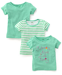 Babyhug Half Sleeves T-Shirt Pack of 3 - Green