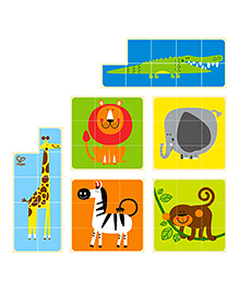 Hape Wooden Zoo Animals Block Puzzle - Multicolor