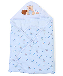 Hooded Baby Wrapper Cupcake Print - Blue