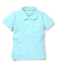 Babyhug Half Sleeves Collared Plain Solid Color T-Shirt - Aqua