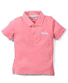 Babyhug Half Sleeves Collared Plain Solid Color T-Shirt - Peach