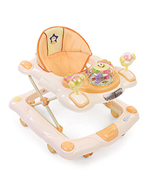 Musical Baby Walker With Play Tray - Cream