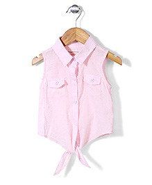 Little Denim Store Dot Print Tie Up Top - Pink