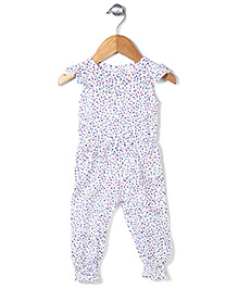 Little Denim Store Leaf Print Jumpsuit - White