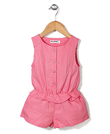 Miss Pretty Solid Pattern Romper - Pink