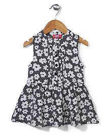Miss Pretty Floral Print Dress - Black & White