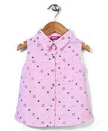 Miss Pretty Circle & Dot Print Top - Pink