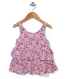 Miss Pretty Sleeveless Floral Dress - Pink