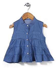 Miss Pretty Front Button Dress - Blue