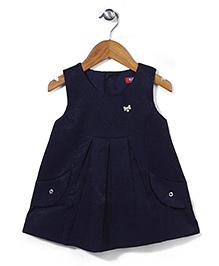 Miss Pretty Stylish Front Pocket Dress - Blue