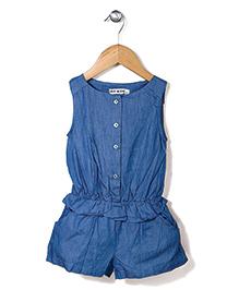 Miss Pretty Front Buttons Jumpsuit - Blue