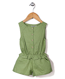 Miss Pretty Front Buttons Jumpsuit - Green