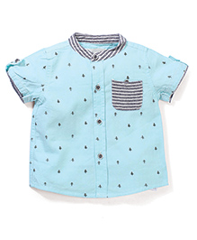 Poly Kids Tree Printed Shirt - Aqua Blue