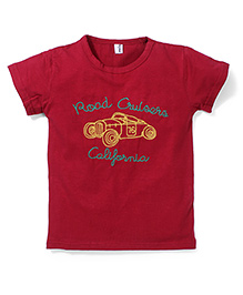 Poly Kids Car Print T-Shirt - Red