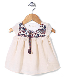 Miss Pretty Floral Print Dress With Embroidery - Cream