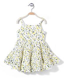 Miss Pretty Floral Print Dress - Yellow