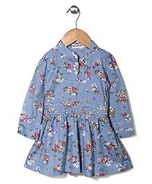 Miss Pretty Full Sleeve Floral Print Dress - Blue