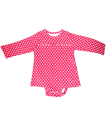 Kidsmode Organic Cotton Frock Style Onesie Polka Dots - Pink