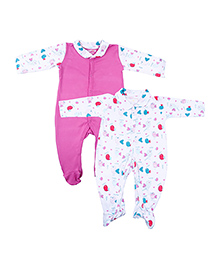 Kidsmode Organic Cotton Footed Sleepsuit Bird Print Pack of 2 - Pink & White
