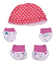 Kidsmode Organic Cotton Cap Booties And Mittens Set - Pink