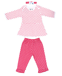 Kidsmode Polka Dotted Top Leggings With Headband Set - White & Pink