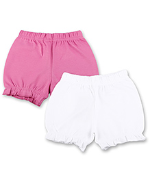Kidsmode Organic Cotton Bloomers Pack of 2 - White & Pink