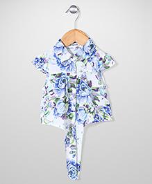 Miss Pretty Floral Print Shirt - White & Blue