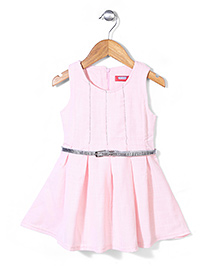 Miss Pretty Lovely Dress With Belt - Pink