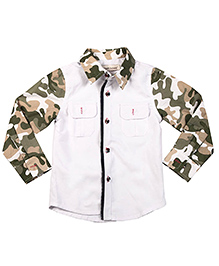 Brown Bows Full Sleeves Shirt Camouflage Print - White