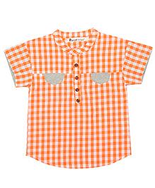 Brown Bows Half Sleeves Check Shirt - Orange