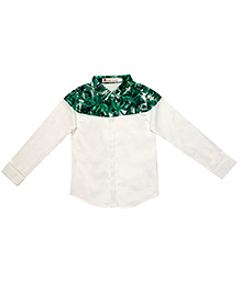 Brown Bows Printed Full Sleeves Shirt - Green White