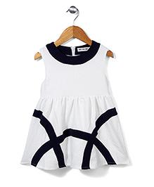 Miss Pretty Elegant Dress - White & Navy Blue