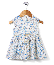 Miss Pretty Flower Print Dress - White & Blue