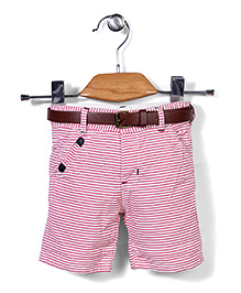 Poly Kids Striped Shorts - Pink